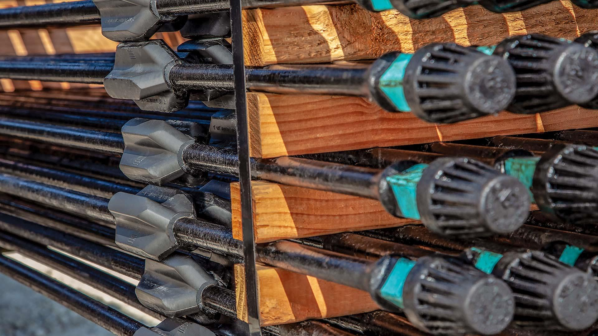 Sucker rod guides stacked on a pallet