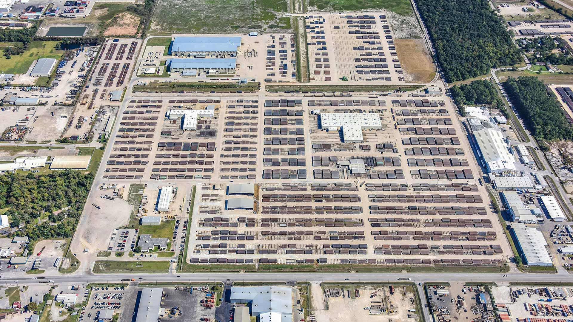 Aerial view of Tuboscope yard