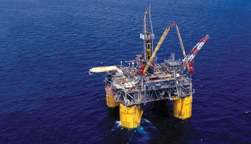An offshore rig with a DFX fluid system onboard