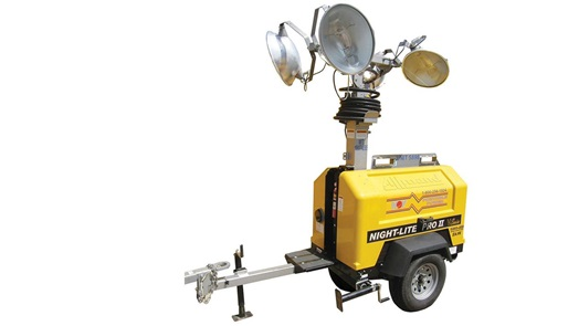 A render of a portable diesel light tower attached to a hitch
