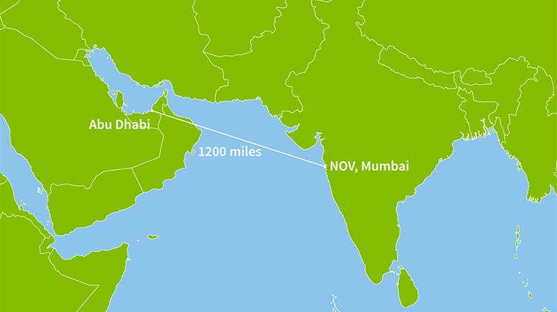 A graphic map showing the distance between Abu Dhabi and NOV's recertification facility in Mumbai