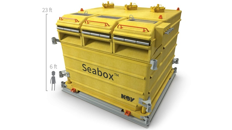 A render demonstrating the size of a Seabox subsea water treatment system