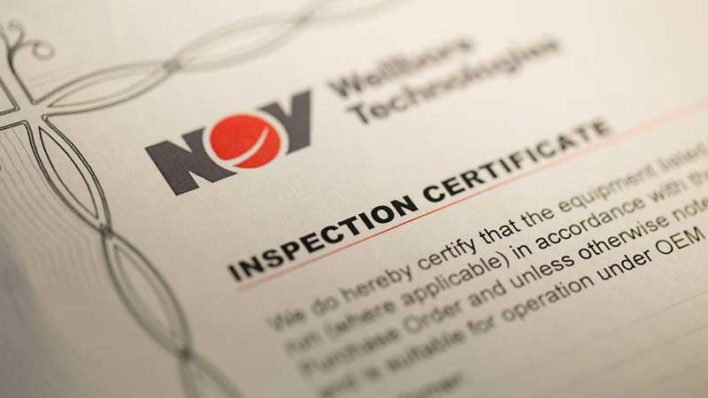 A closer look at an NOV inspection recertification certificate