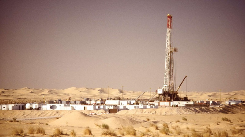 A rig set up in a desert